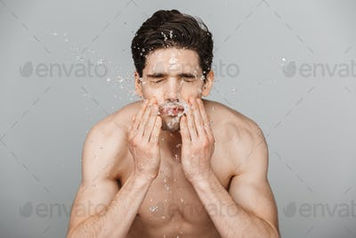 Beauty portrait of half naked attractive young man