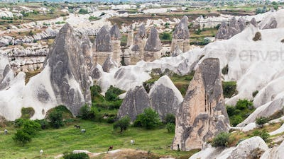 rural landscape with rock houses in Goreme
