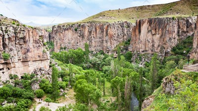 panorama of Ihlara Valley in Cappadocia