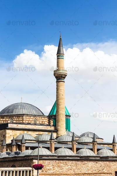 minaret and roofs of Rumi Mausoleum in Konya