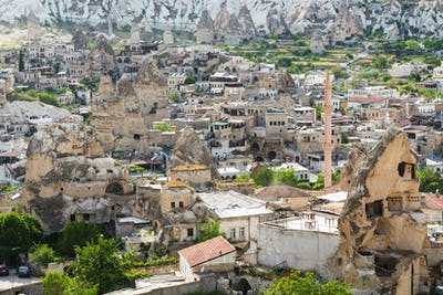 skyline of Goreme town in Cappadocia in spring
