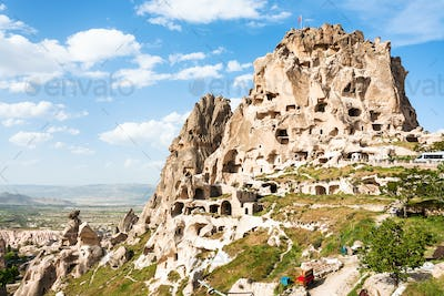 rock-cut Uchisar castle in Cappadocia in spring