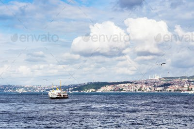 view of Golden Horn bay with bridge in Istanbul