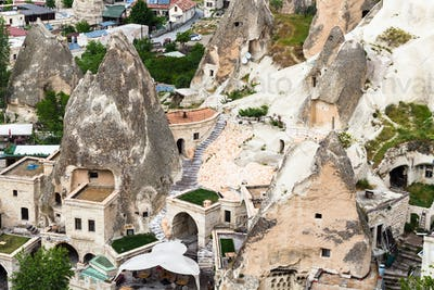 urban houses in rock-cut caves in Goreme town