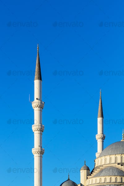 minarets and dome of Kocatepe Mosque in Ankara