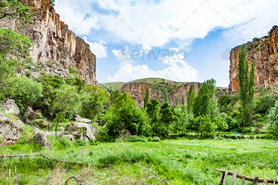 green meadow in Ihlara Valley in Cappadocia