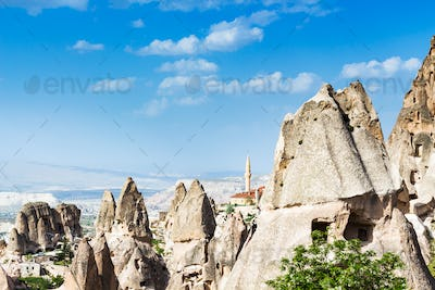 fairy chimney rocks and mosque in Uchisar town