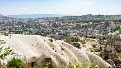 view of Goreme town from mountain in Cappadocia