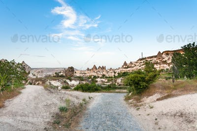 way to Goreme town from valley in Cappadocia