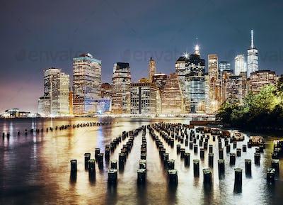 Manhattan skyline seen from Brooklyn at night, NYC.