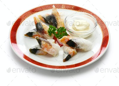 wafer prawn rolls with century egg