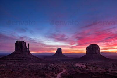 Colorful sunrise landscape view at Monument valley national park, Arizona