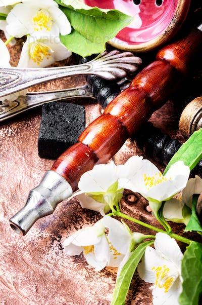 Oriental tobacco hookah with floral jasmine aroma