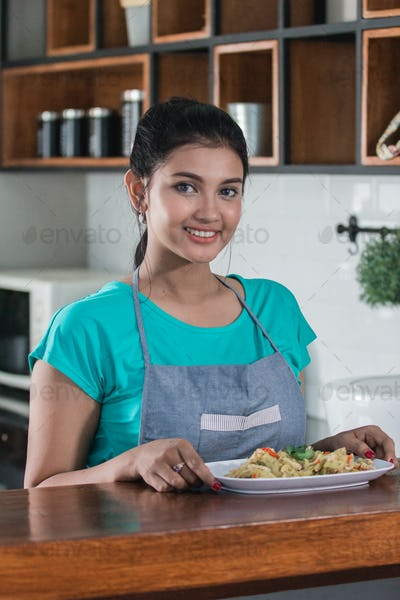 house wife preparing food for lunch