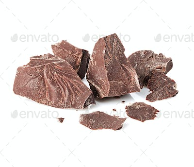 Chocolate close-up isolated on a white background.