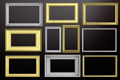 Frames golden and silver isolated on black background copy space, 3d illustration