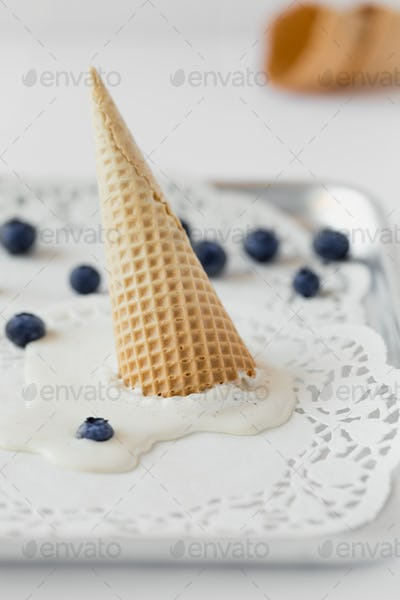 Melted Ice Cream in Waffle Cone