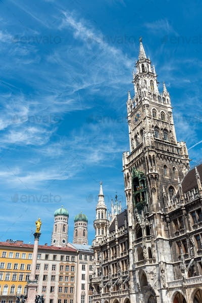 The New City Hall at the Marienplatz in Munich