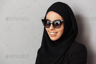 Portrait closeup of muslim fashion woman 20s in religious headsc