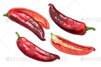 Red Hatch chiles whole, halved, top