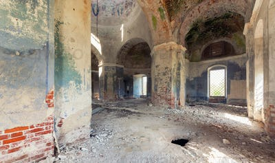Inside an abandoned old brick church