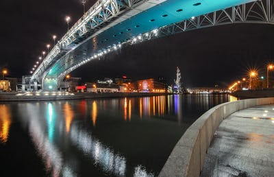 Bridge across the Moskva River. Night view from embankment