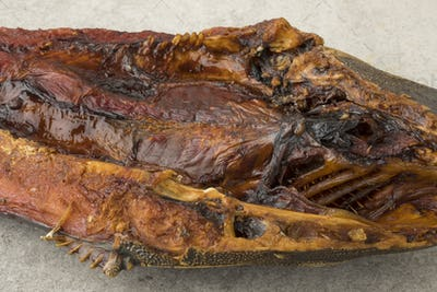 Smoked catfish close up