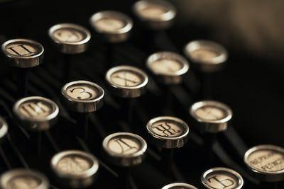 Detail of the keyboard of a typewriter old black