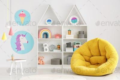 Colorful scandi kid's room interior