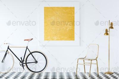 Bike in white living room