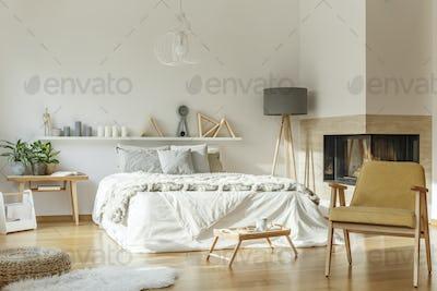 Cozy bedroom with rug