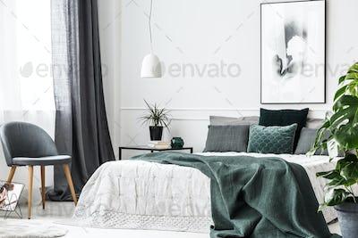 Emerald green bedroom interior