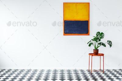 Orange flat interior with plant