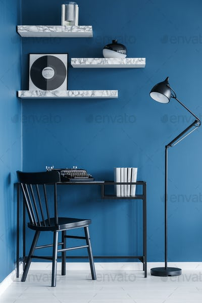 Black and blue home office