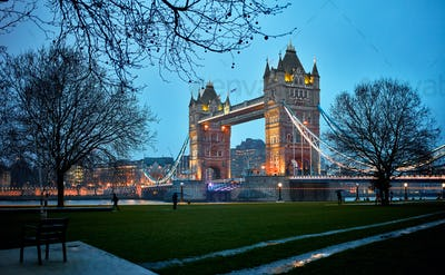 Night view of Tower Bridge