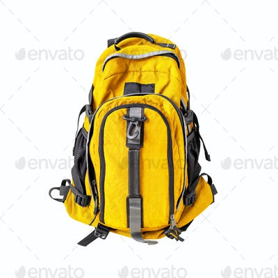 Yellow backpack isolated on white