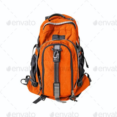 Orange backpack isolated on white