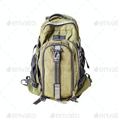 Green khaki backpack isolated on white