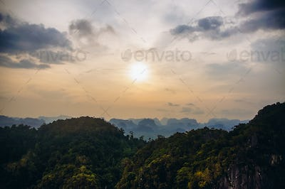 tops of mountains in tropical forest