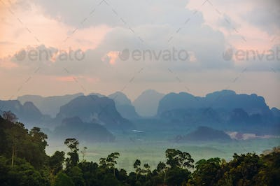 evening peaks mountains