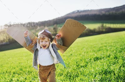 Happy toddler boy with wings playing outside in spring nature.