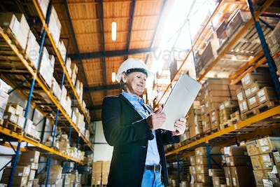 Senior woman warehouse manager or supervisor with tablet, working.