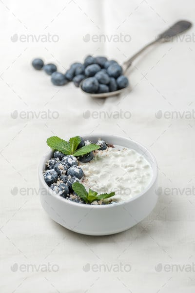 Cottage cheese with fresh blueberries and mint leaves on a white