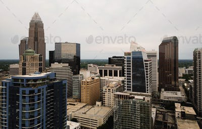 Aerial View Rooftops and Buildings on Charlotte North Carolina