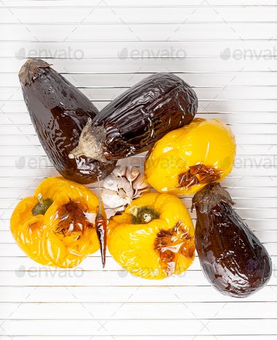 Grilled aubergines and yellow sweet peppers.