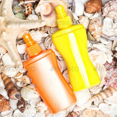 Sunscreen cosmetic products with shells and starfish
