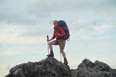 caucasian hiker portrait