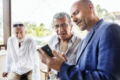 Group of senior men talking