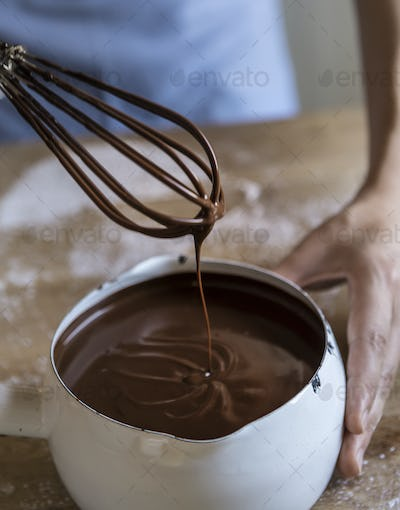 Dark chocolate sauce food photography recipe idea