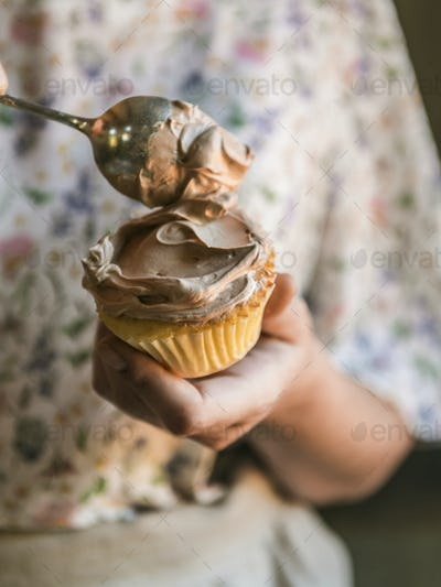 Chocolate cupcake food photography recipe idea
